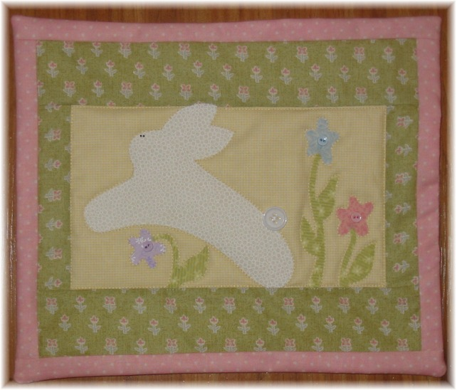 Easter bunny and egg quilt by patchwork and paint this is a cute easter bunny mini quilt it makes a fun gift or a great addition to your collection it is 4 the april quilt in a set of mini quilts negle Choice Image